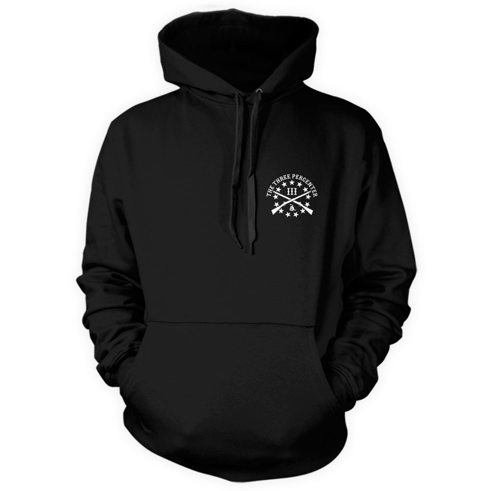 Three Percenter Pullover Hoodie - Viking Shield & Axes | Front Print
