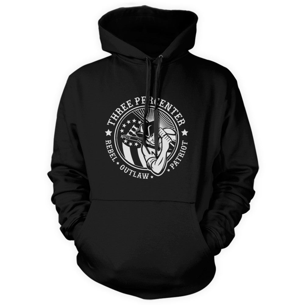 Three Percenter Pullover Hoodie - Rebel Outlaw Patriot