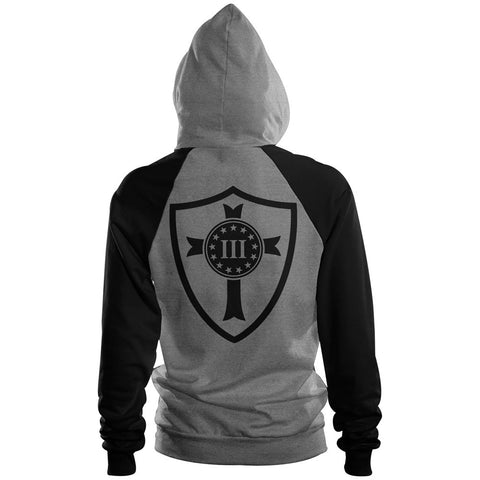 Three Percenter Pullover Raglan Hoodie - Crusader Shield