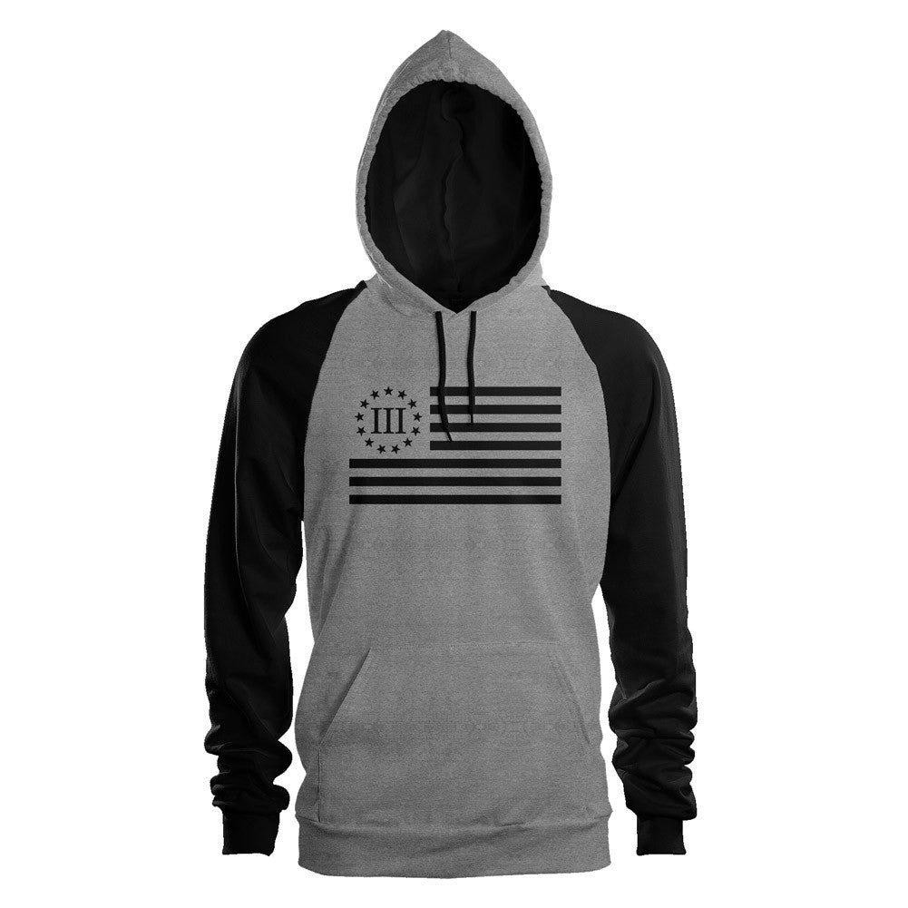Three Percenter Pullover Raglan Hoodie - III Percenter Flag