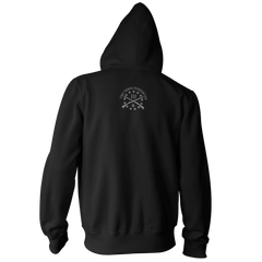 Three Percenter Pullover Hoodie - III & Join or Die Snake - Back Black