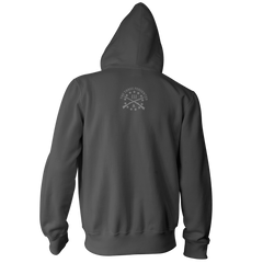 Three Percenter Pullover Hoodie - III & Join or Die Snake - Charcoal Back