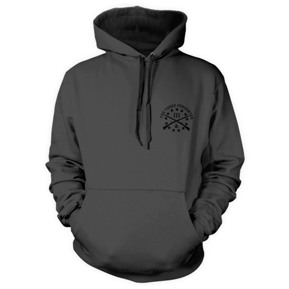 Viking Shield Hoodie Front Charcoal with Black