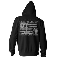 Stand For The Flag, Kneel For The Cross Hoodie - Black