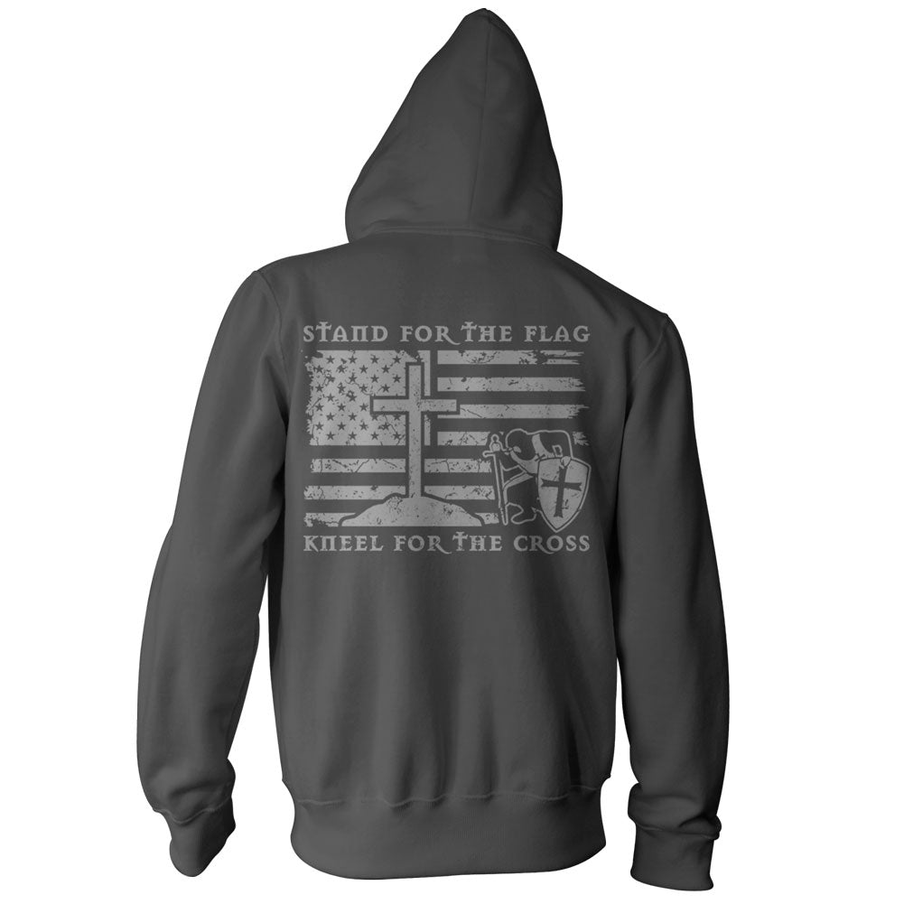 Stand For The Flag, Kneel For The Cross Hoodie - Charcoal