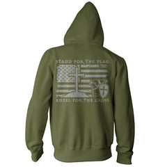 Stand For The Flag, Kneel For The Cross Hoodie - Military