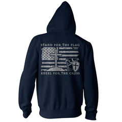 Stand For The Flag, Kneel For The Cross Hoodie - Navy