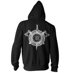 Three Percenter Pullover Hoodie - Viking Shield & Axes | Back Print - Black