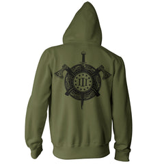 Three Percenter Pullover Hoodie - Viking Shield & Axes - Military