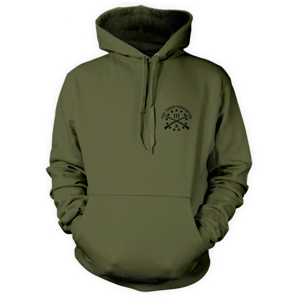 Three Percenter Pullover Hoodie - Viking Shield & Axes - Front