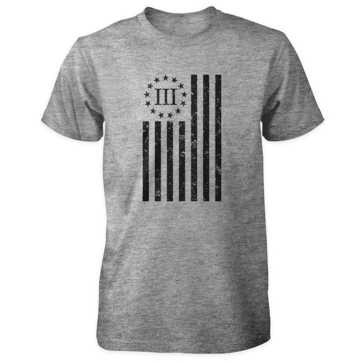 Distressed Vertical III Percenter Flag - Grey