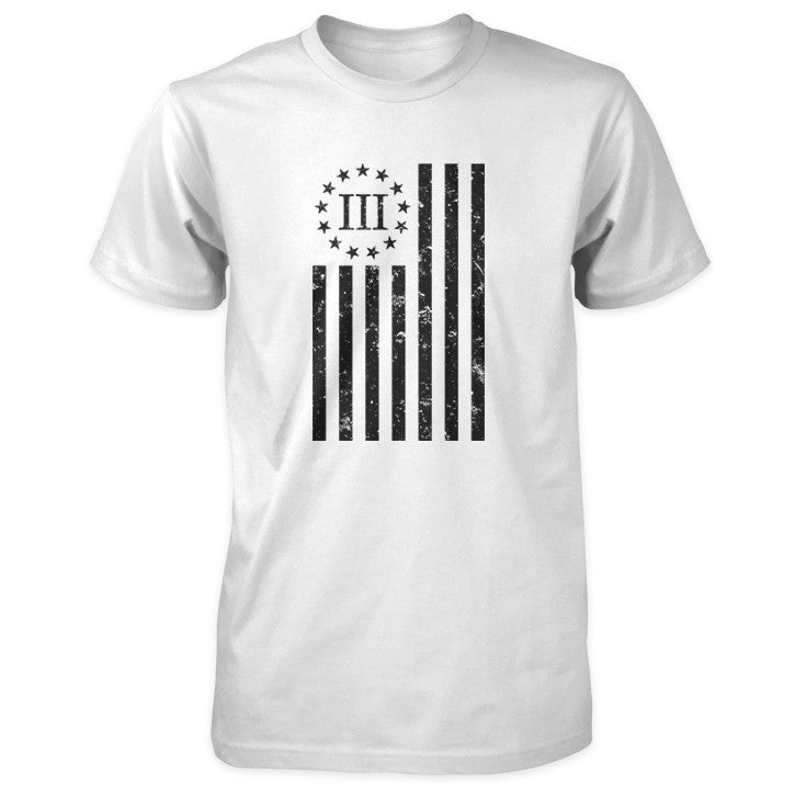 Distressed Vertical III Percenter Flag - White