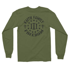 Three Percenter Long Sleeve Shirt - Faith Family Freedom - Military