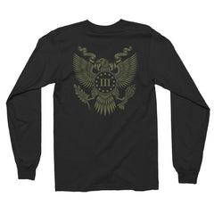 Three Percenter Long Sleeve Shirt - Great Seal of the III Percent | Back Print OD Green
