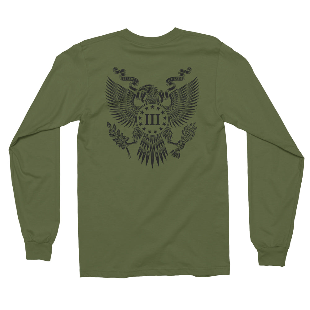 Three Percenter Long Sleeve Shirt - Great Seal of the III Percent | Back Print - Military