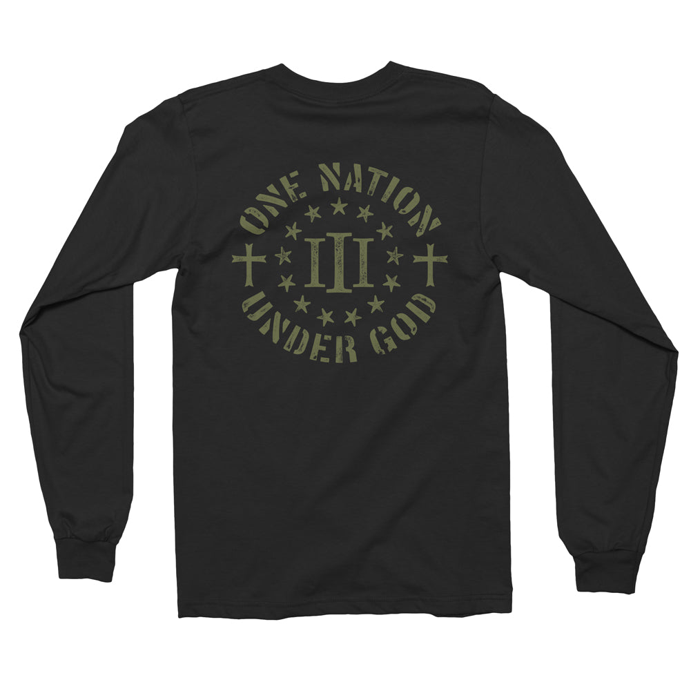 Three Percenter Long Sleeve Shirt - One Nation Under God - OD green