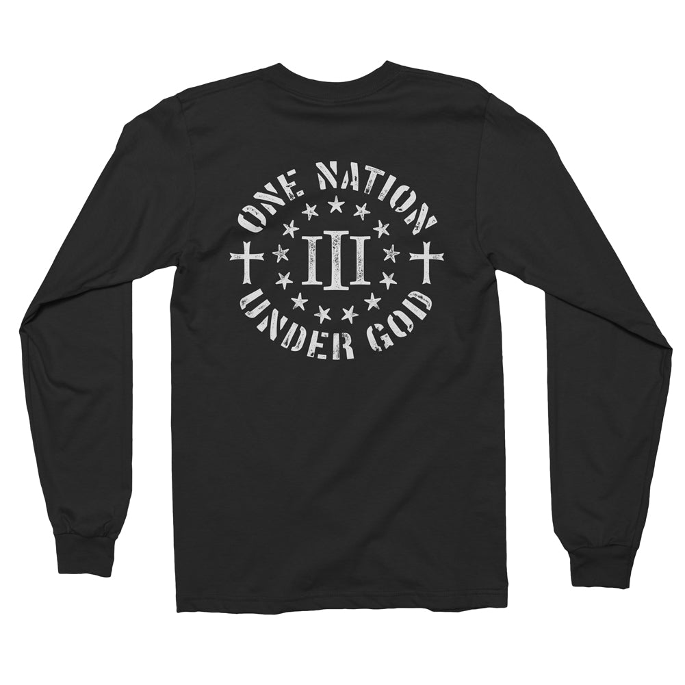 Three Percenter Long Sleeve Shirt - One Nation Under God