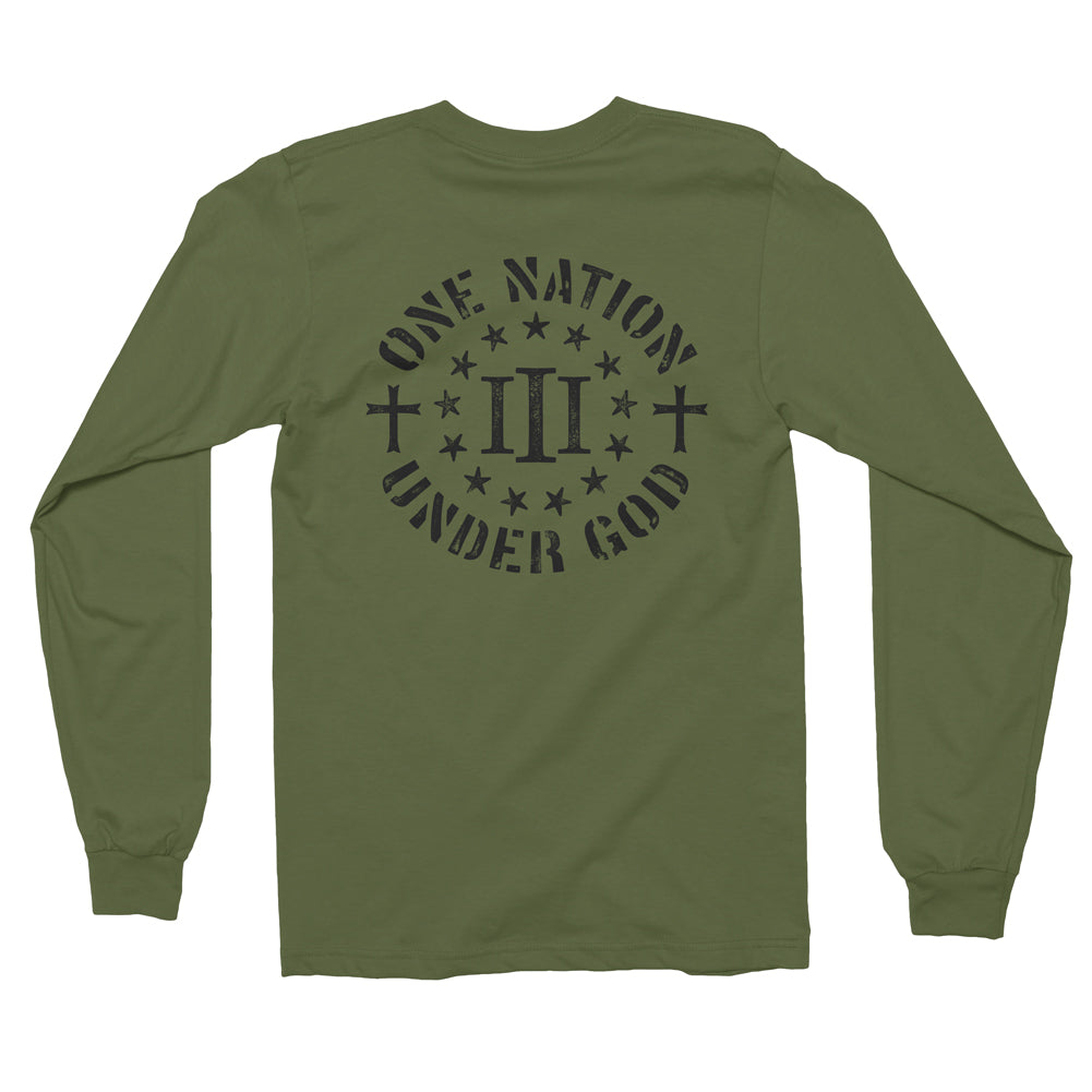 Three Percenter Long Sleeve Shirt - One Nation Under God - Military