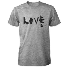 Love Spelled with Guns & Weapons Shirt - Sports Grey