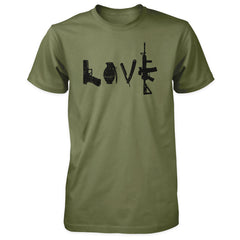 Love Spelled with Guns & Weapons Shirt - Military