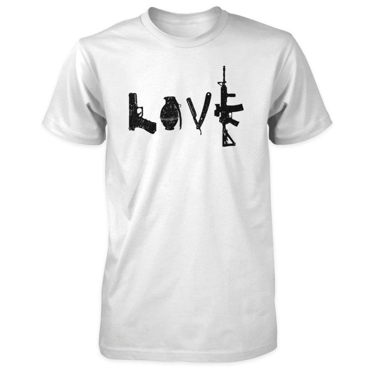 Love Spelled with Guns & Weapons Shirt - White