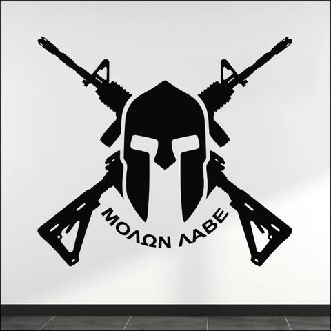 Molon Labe Wall Decal - Crossed AR-15s & Spartan Helmet