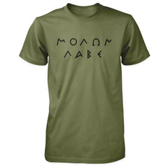 Molon Labe Shirt - Greek Text - Military with Black