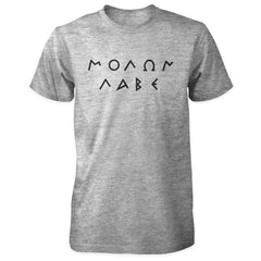 Molon Labe Shirt - Greek Text - Sports Grey with Black