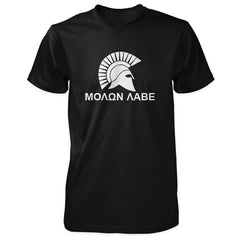 Molon Labe Shirt - Spartan Helmet & Greek Phrase - Black