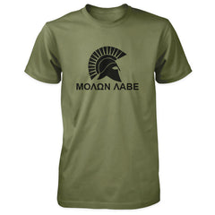 Molon Labe Shirt - Spartan Helmet & Greek Phrase - Military