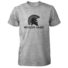 Molon Labe Shirt - Spartan Helmet & Greek Phrase - Sports Grey