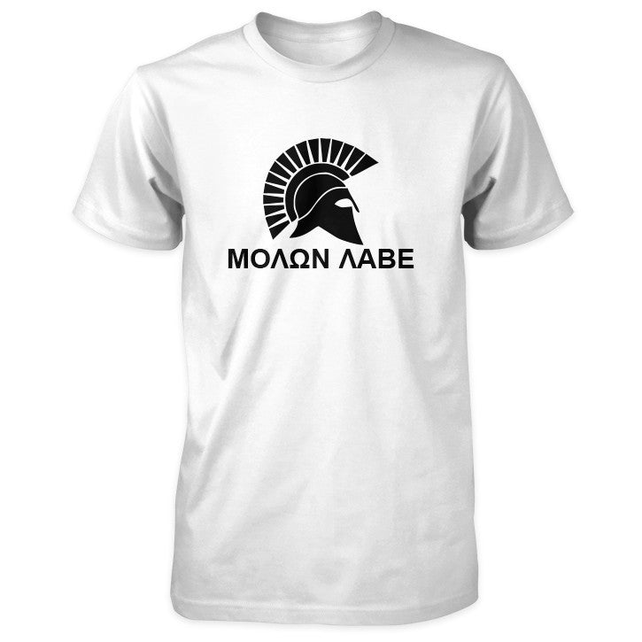 Molon Labe Shirt - Spartan Helmet & Greek Phrase - White