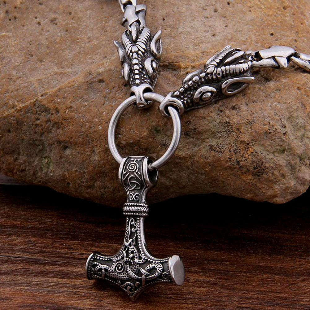 Viking Necklace - Stainless Steel Dragons with Mjolnir, Thor's Hammer, Pendant