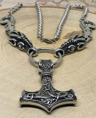 Viking Necklace - Stainless Steel Dragons with Mjolnir Pendant - Pendant & Dragons