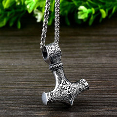 Viking Necklace - Stainless Steel Mjolnir, Thor's Hammer, Pendant