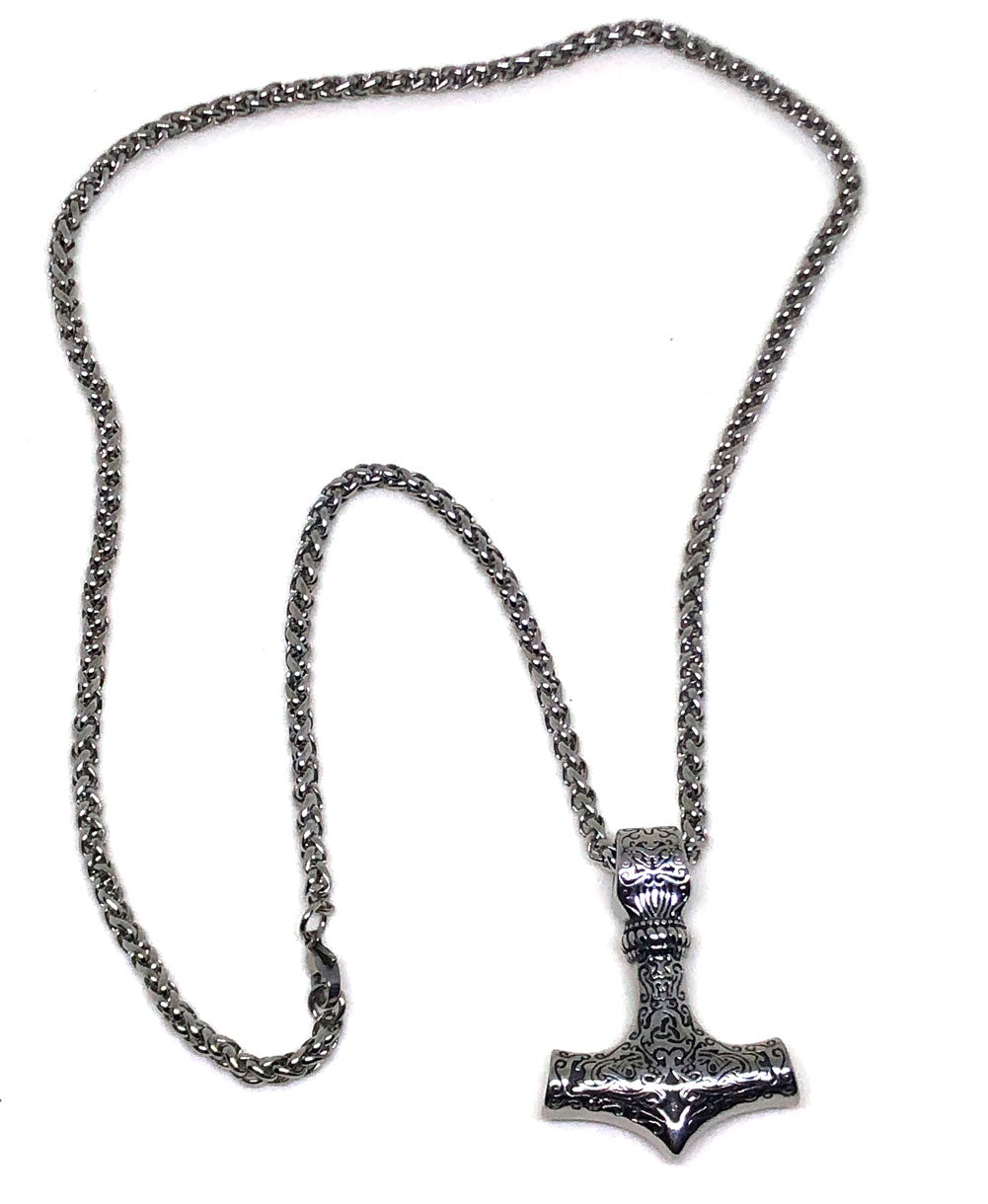 Viking Necklace - Stainless Steel Mjolnir, Thor's Hammer, Pendant - Full view front