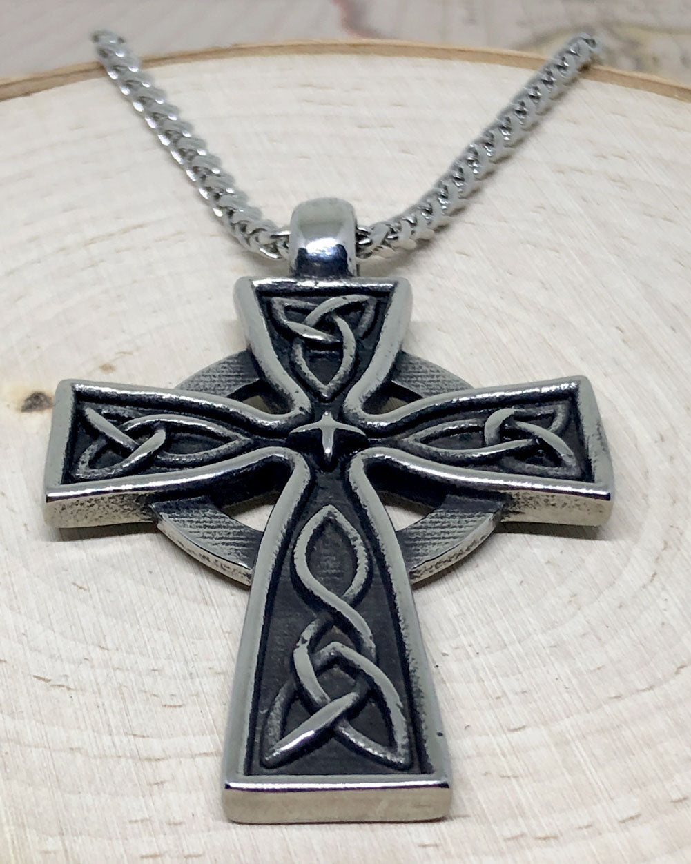 Celtic Cross Stainless Steel Pendant & Necklace - Front