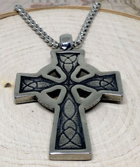 Celtic Cross Stainless Steel Pendant & Necklace - Back