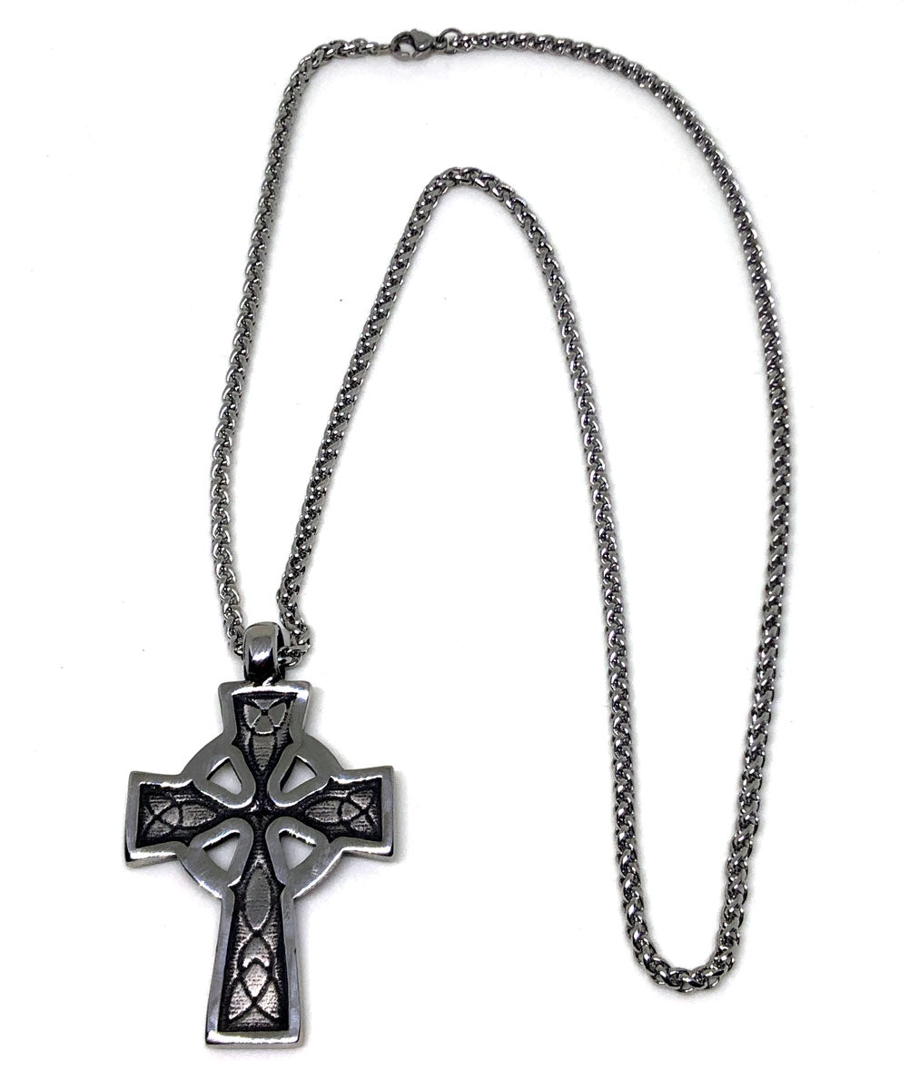 Celtic Cross Stainless Steel Pendant & Necklace - Full view front