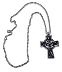Celtic Cross Stainless Steel Pendant & Necklace - Full view back