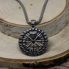 Viking Necklace - Stainless Steel Vegvisir Runic Compass Pendant