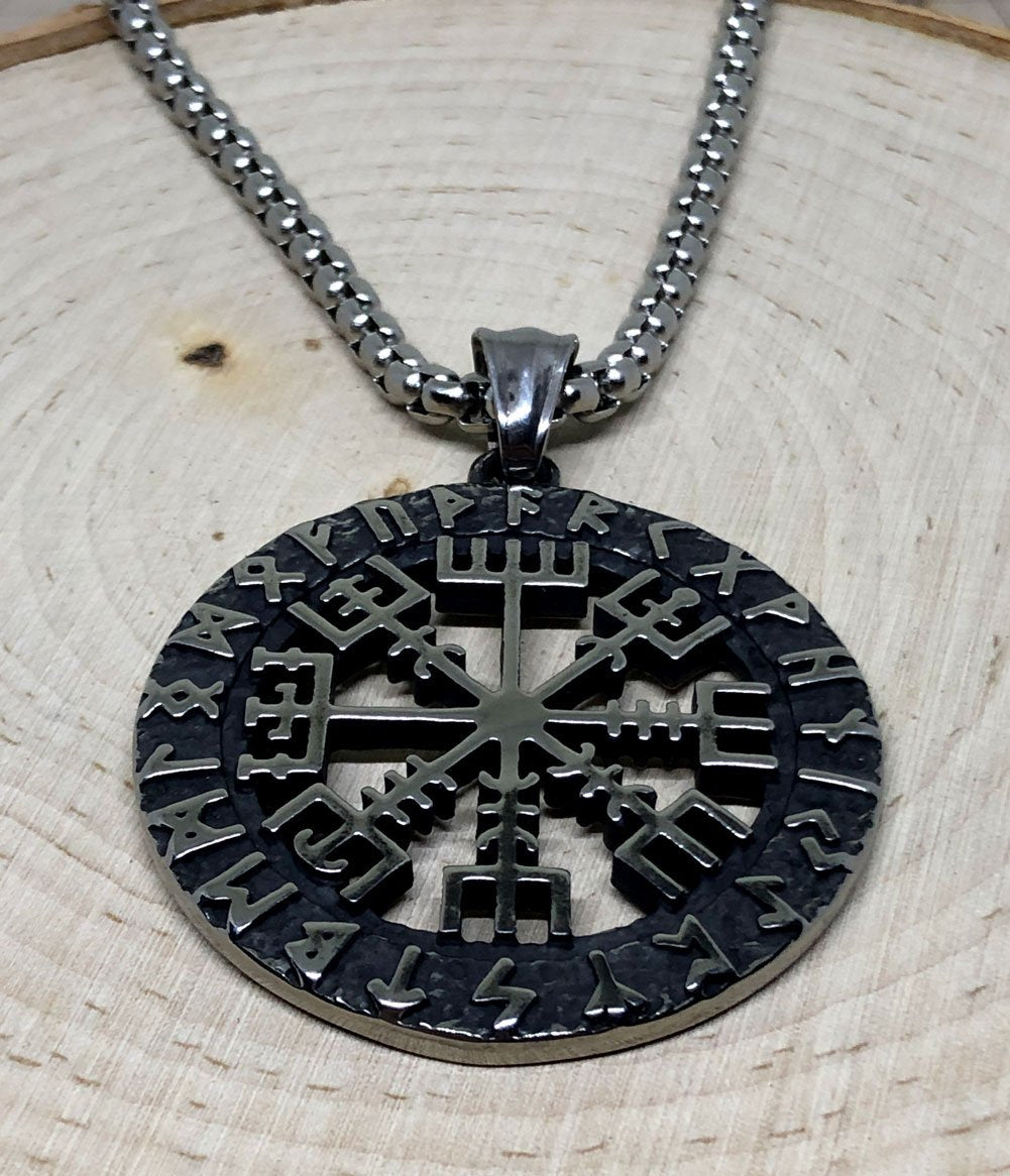 Viking Necklace - Stainless Steel Vegvisir Runic Compass Pendant - Top view