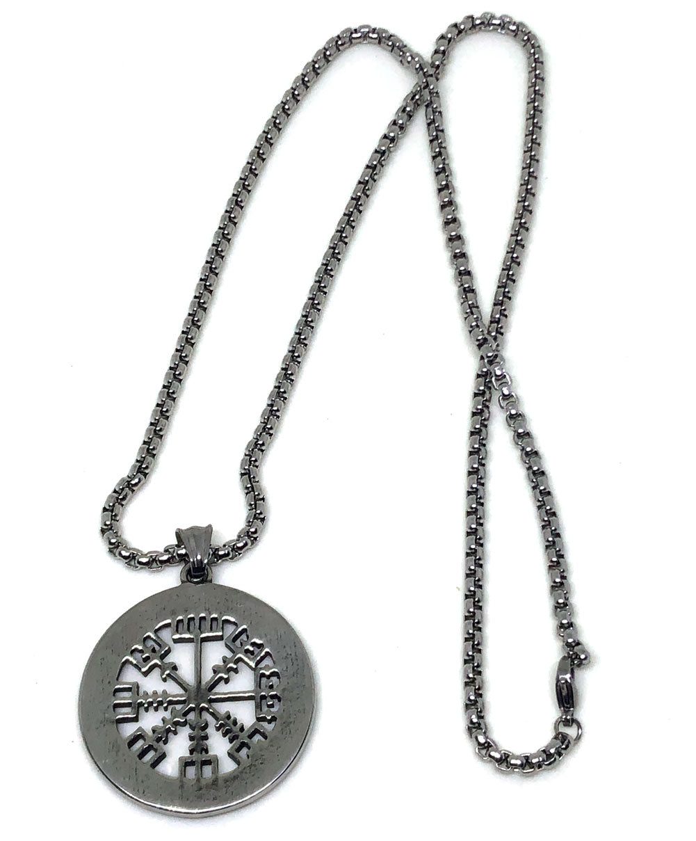 Viking Necklace - Stainless Steel Vegvisir Runic Compass Pendant - Full view back