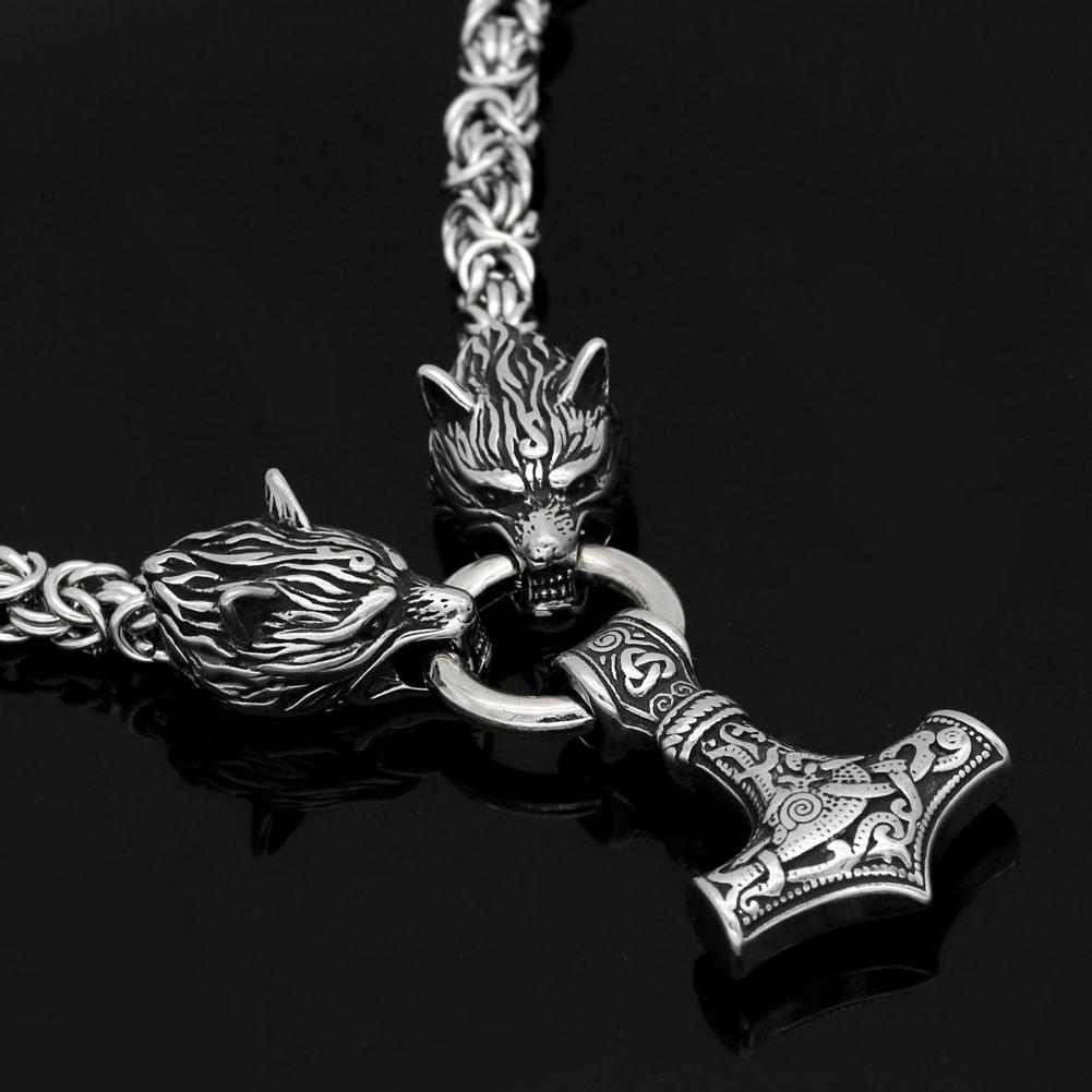 Viking Necklace - Stainless Steel Wolf Heads with Mjolnir Pendant