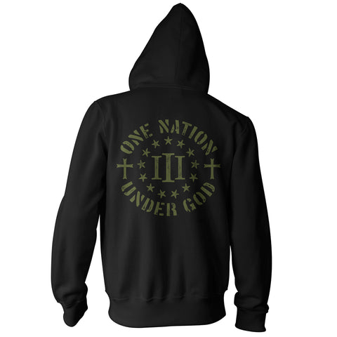 Three Percenter Zip Up Hoodie - One Nation Under God - Black OD Green
