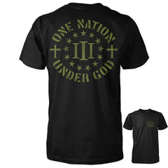 Three Percenter Shirt - One Nation Under God - Black/OD Green
