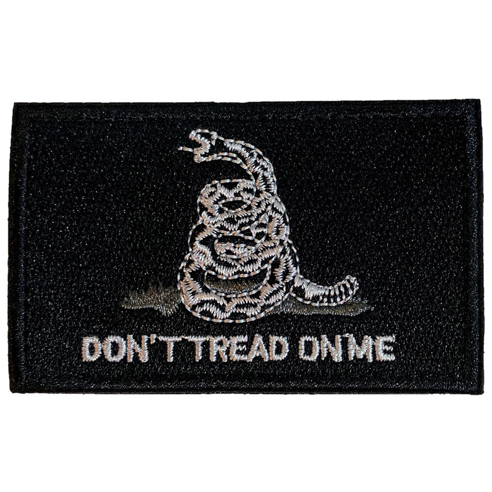 Gadsden Don't Tread On Me Flag Embroidered Velcro Patch - Black