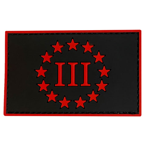 Three Percenter III & 13 Stars PVC Velcro Patch - Black / Red