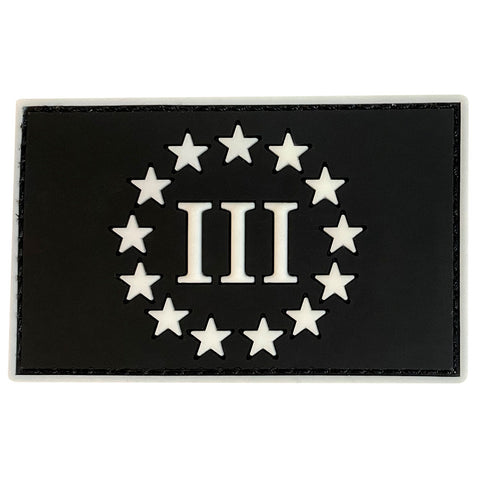 Three Percenter III & 13 Stars PVC Velcro Patch - Black / Glow White