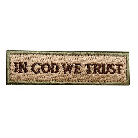 In God We Trust Embroidered Velcro Patch - Coyote Brown